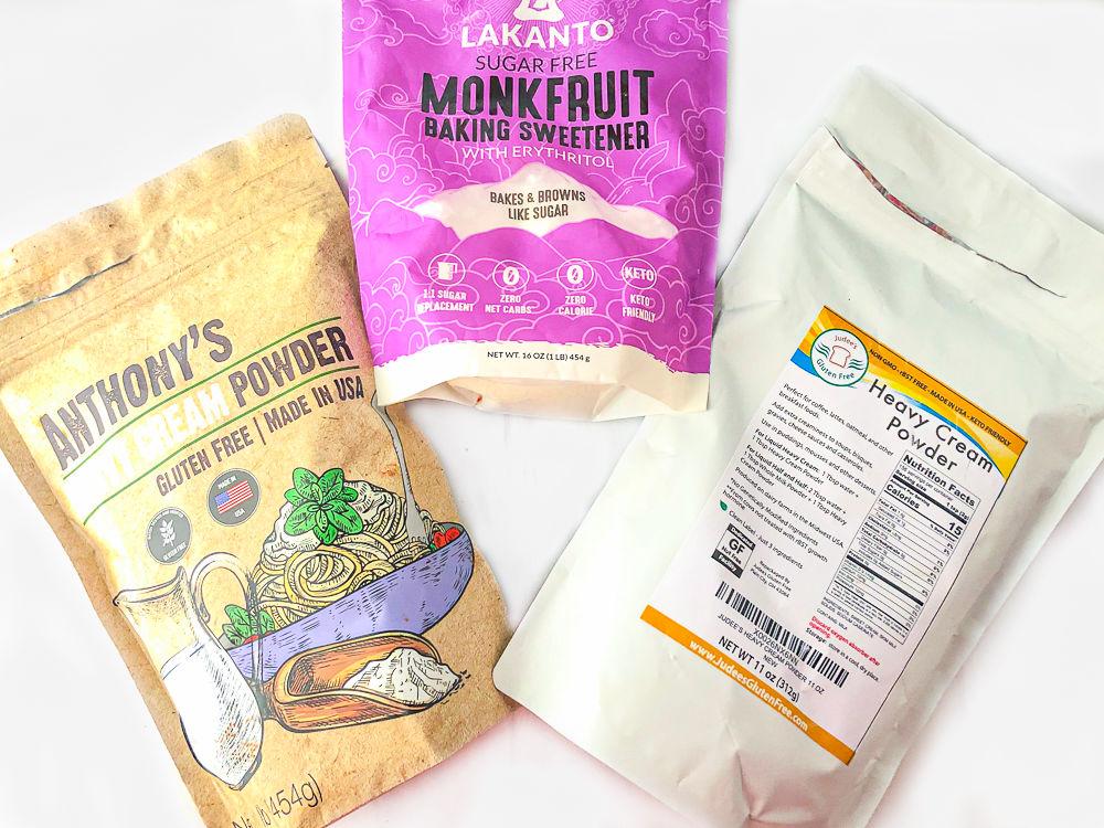 Anthony's heavy cream powder, Judee's heavy cream powder and Lakanto sweetener bags