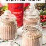 glass jars with homemade low carb cocoa mix and text overlay