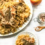 platter and plate with pork roast and sauerkraut made in the Instant pot and text