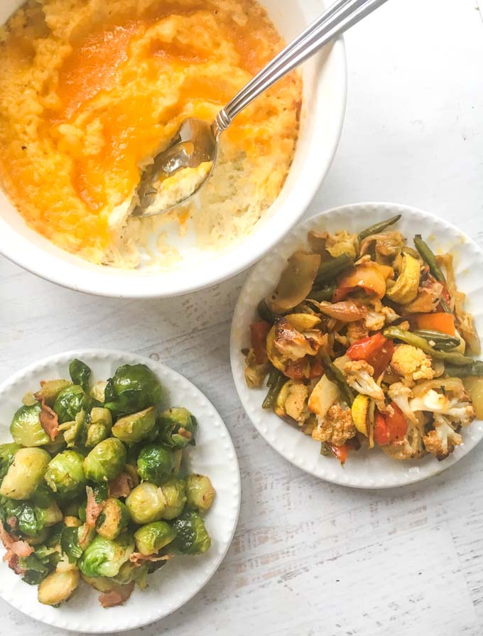 This is an easy low carb Christmas dinner that you caneasy make for your family this holiday season. Prepare the side dishes the night before and all you need to do is make the roast which I have tips to show you.