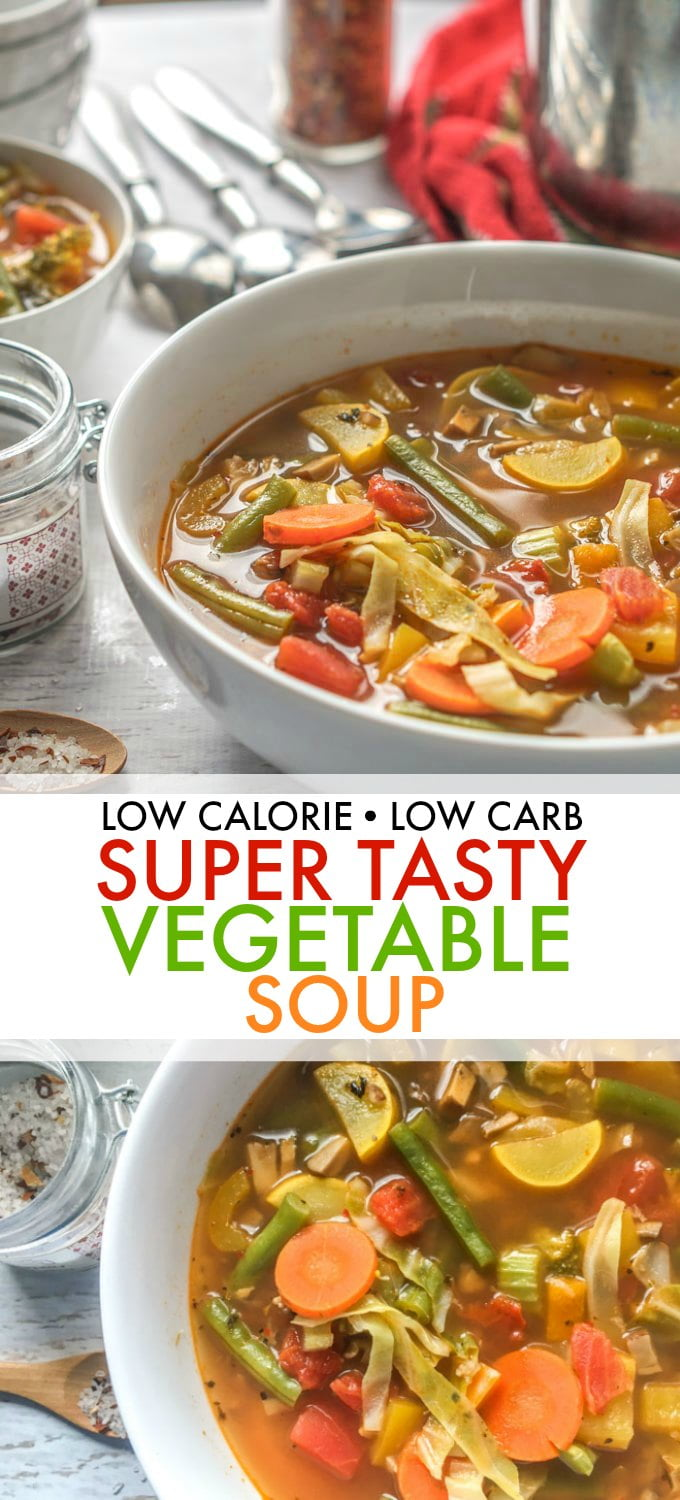 bowls of low carb low calorie soup with text overlay