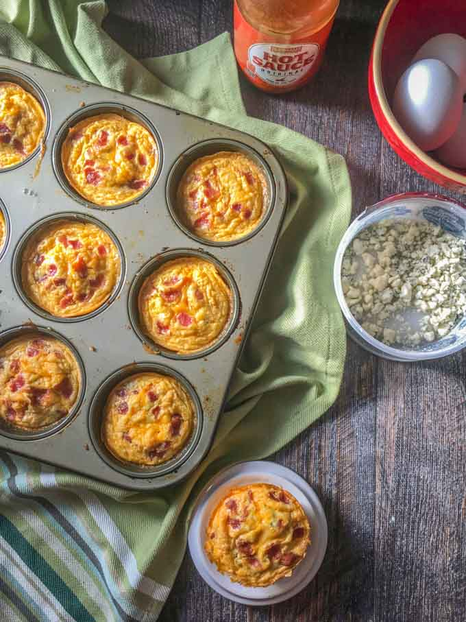 If you are looking for an easy grab and go breakfast, try this low carb buffalo bacon egg muffins. Make a big batch and store the in the refrigerator. Just heat up for about 15 seconds in the microwave and you have a healthy low carb breakfast!