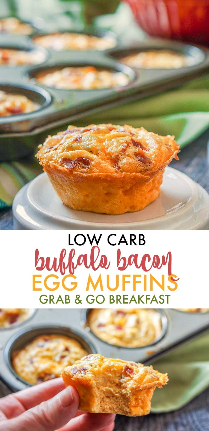 Closeup of low carb egg muffin with text overlay.