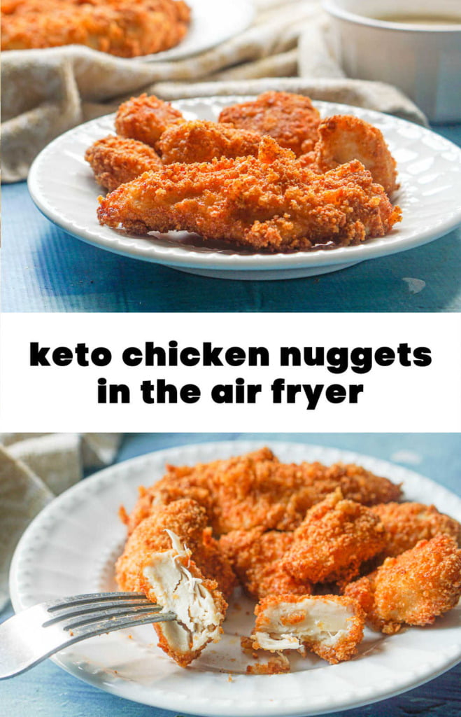 white plate with fried gluten free chicken tenders with text overlay