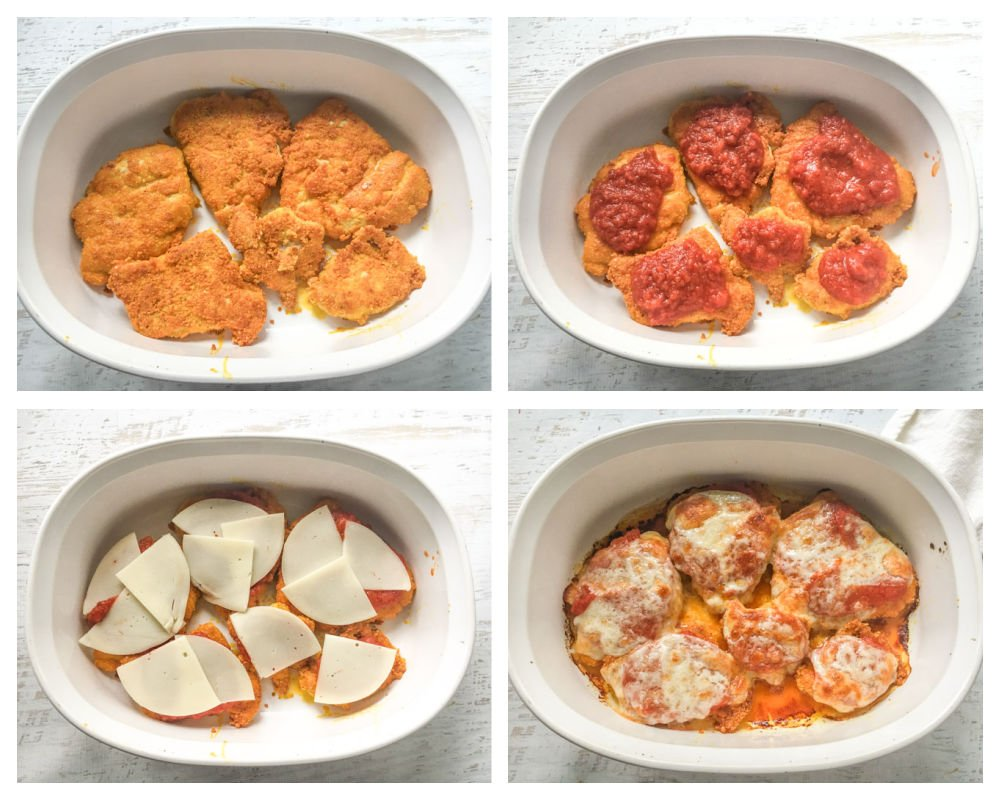 collage of how to make the gluten free chicken parmesan in a baking dish