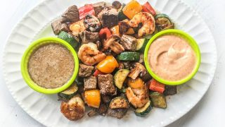 Low Carb Hibachi Steak Appetizer with Shrimp and Vegetables