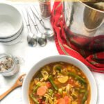 white bowl with low carb vegetable soup and text