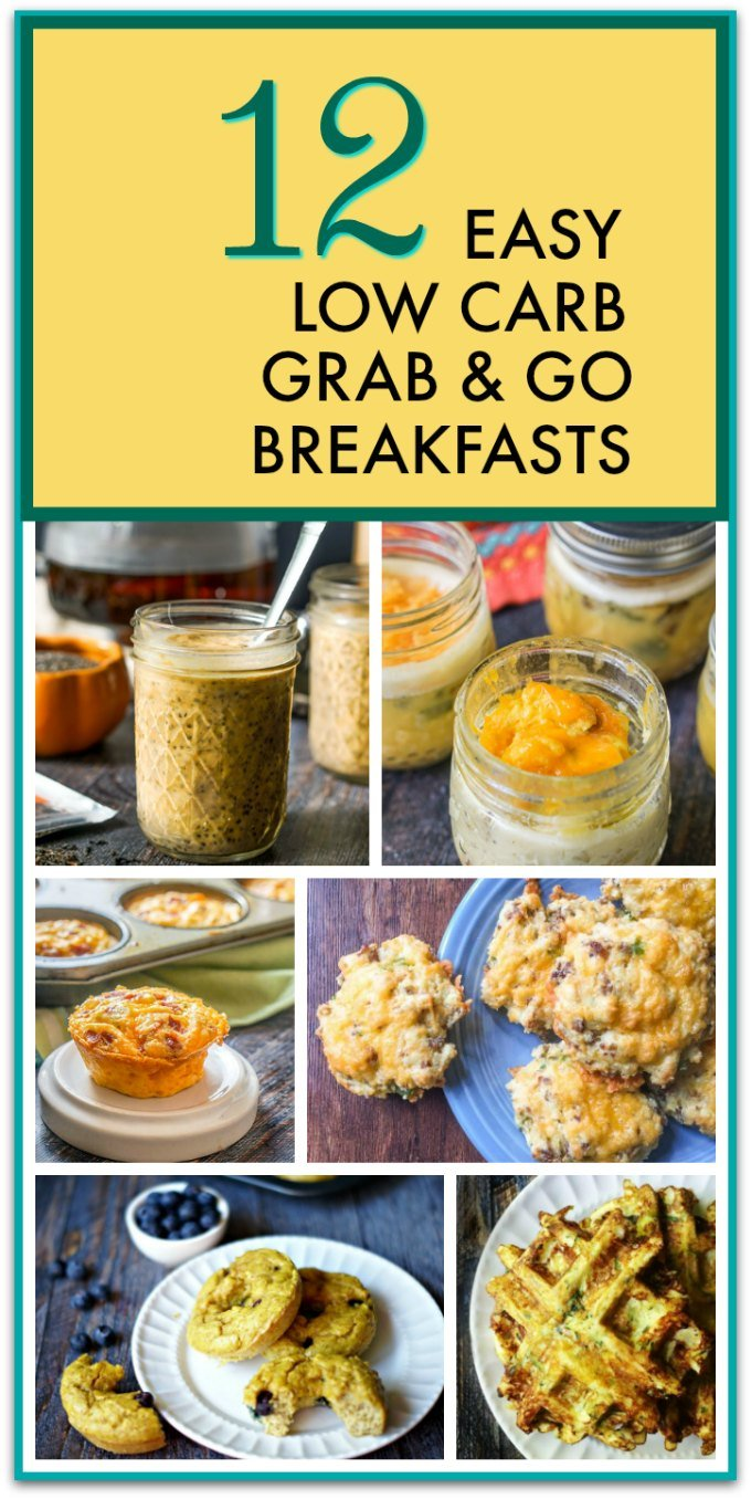 collage of low carb breakfast ideas with text overlay