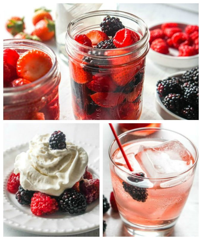 Collage of berries in jar, berries with whipped cream and a drink made from the infused vodka.