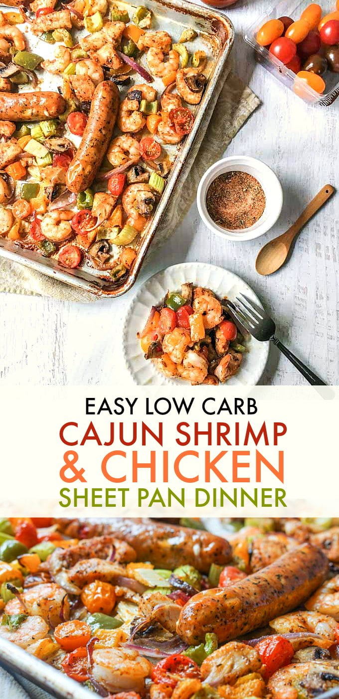 Long photo of a sheet pan with cajun shrimp, chicken and vegetables with text overlay.