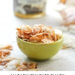 A long photo of coconut chips in small green bowl with text overlay.