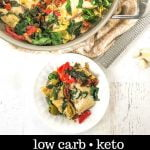 pan and white dish with low carb Mediterranean fish dinner and text overlay