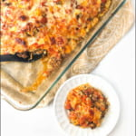 baking dish and white plate with keto ground beef casserole and text