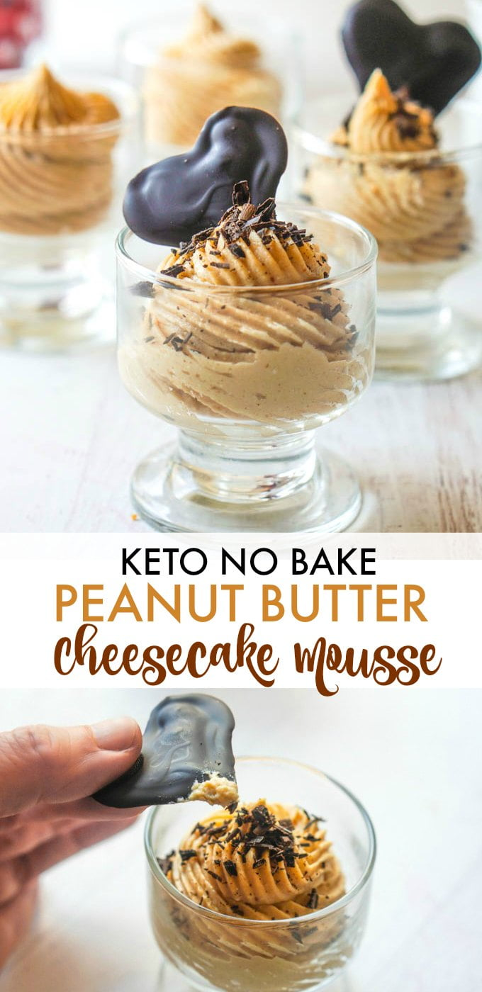 Long photo of keto peanut butter mousse with a chocolate heart on top and text overlay.