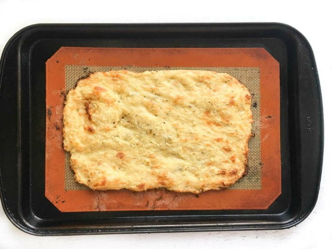 cookie sheet with low carb fathead flatbread cookies