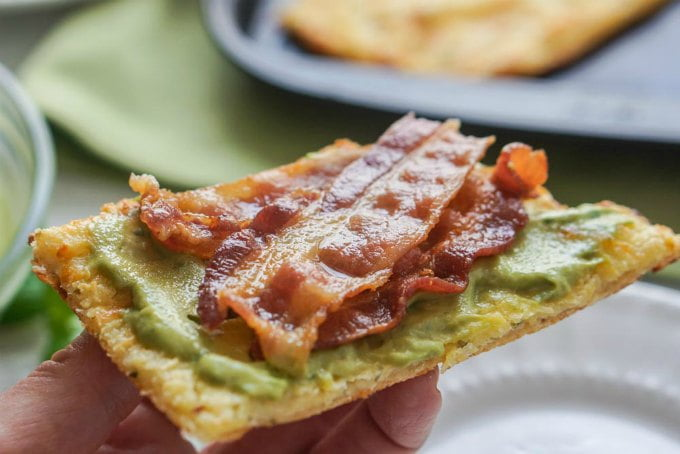 hand holding low carb bacon sandwich