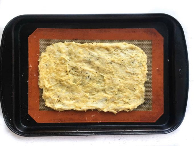 cookie sheet with low carb fathead flatbread raw dough