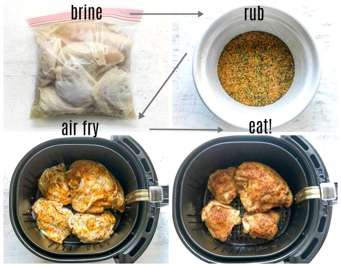Collage of brined chicken, rotisserie spices, air fryer basket with chicken pieces in it.