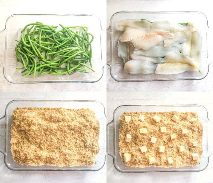 collage of baking dish with green beans, fish, breading and butter.