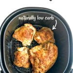 air fryer basket with rotisserie chicken pieces with text overlay