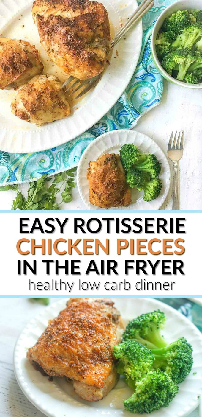 white platter with rotisserie chicken pieces made in air fryer with broccoli and text overlay