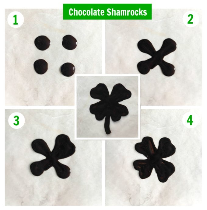 Collage of photos how to make chocolate shamrocks.