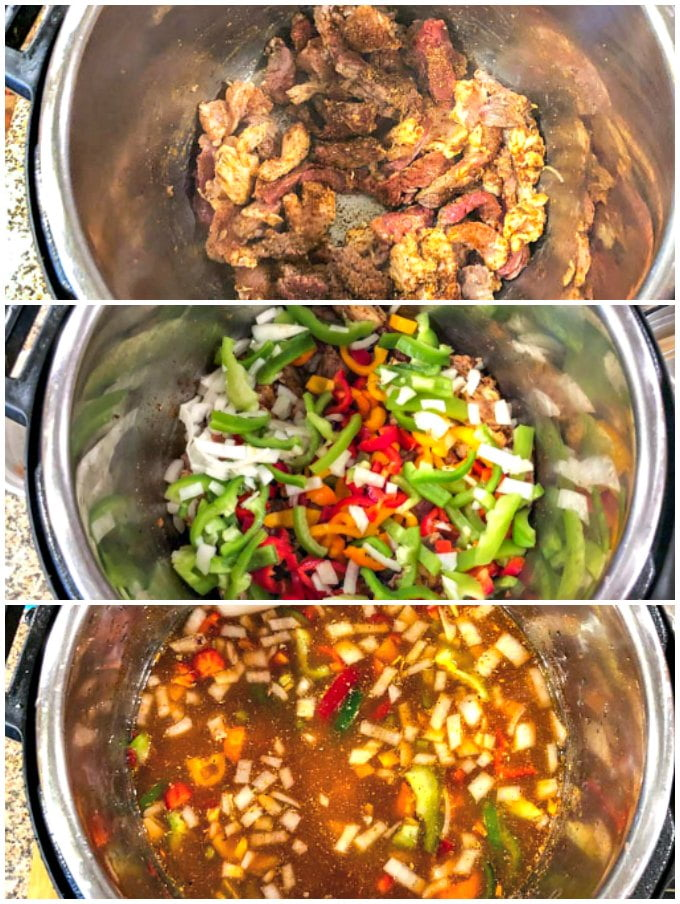 collage of 3 phots of making fajita soup in the Instant Pot
