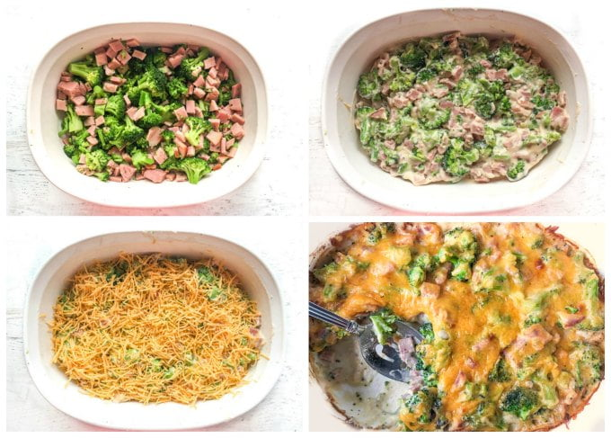 collage of how to make a broccoli and ham casserole