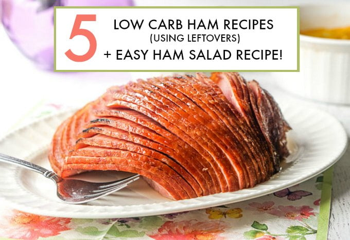 Spiral ham on white plate with text overlay.