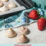 sugar free low carb meringue cookies with strawberries and cookie sheet in background and text overlay