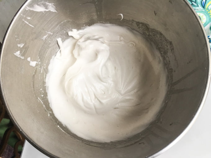 bowl of whipped meringue