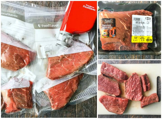 collage of vacuum sealed sous vide steaks and handheld vacuum sealer