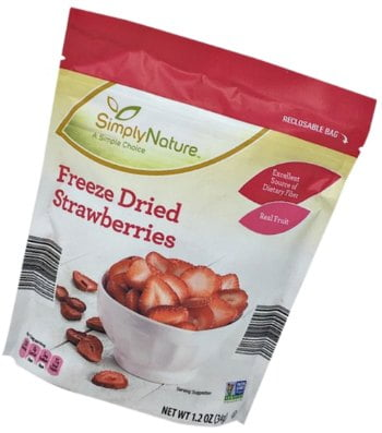 bag of Aldi freeze dried strawberries