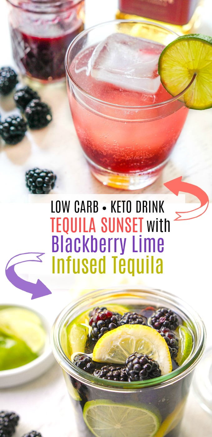 tequila sunset keto cocktail and blackberry lime infused tequila jar and text overlay