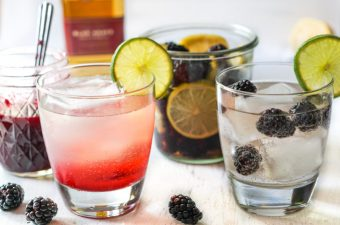 two drinks - 1 blackberry lime infused tequila and tequila sunset cocktail
