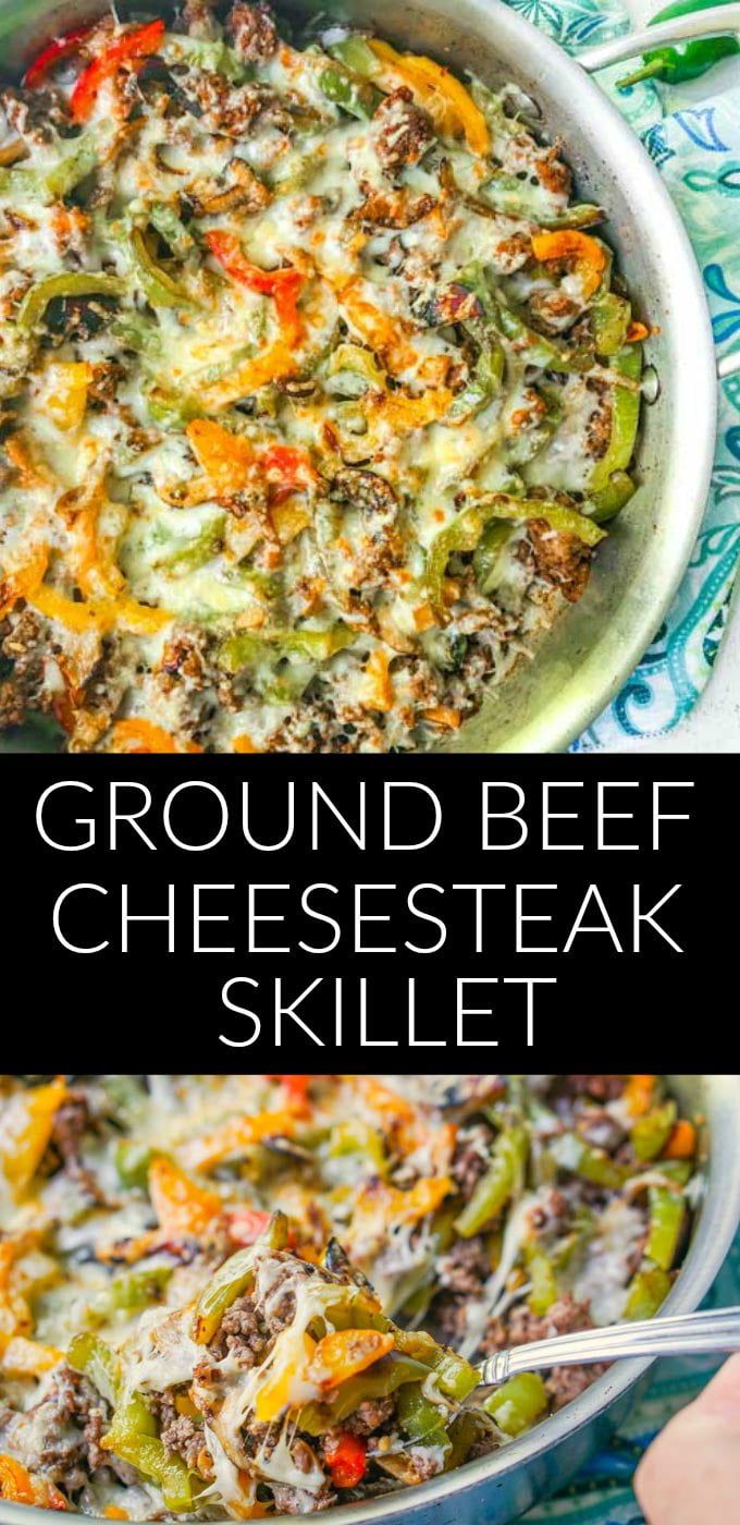 skillet of ground beef keto cheesesteak with text