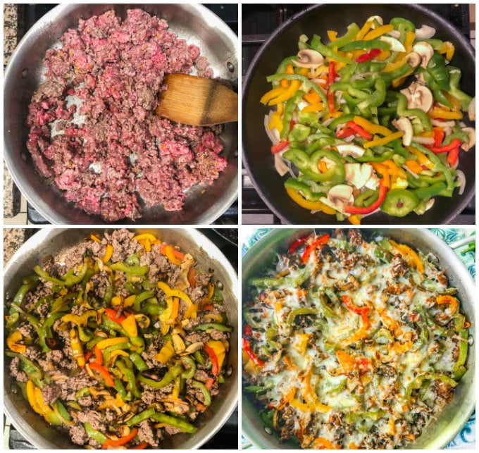 collage of how to cook low carb cheesesteak using ground beef
