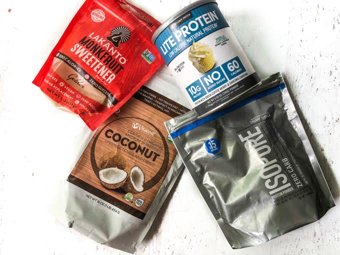 coconut protein bites ingredients like Lakanto sweetener, protein powder and shredded coconut