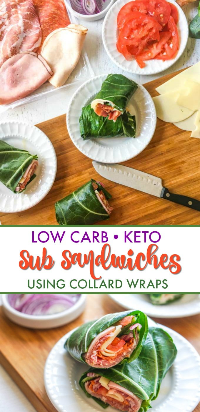 cutting boards with sandwich toppings and a collard green sandwich wrap and text overlay