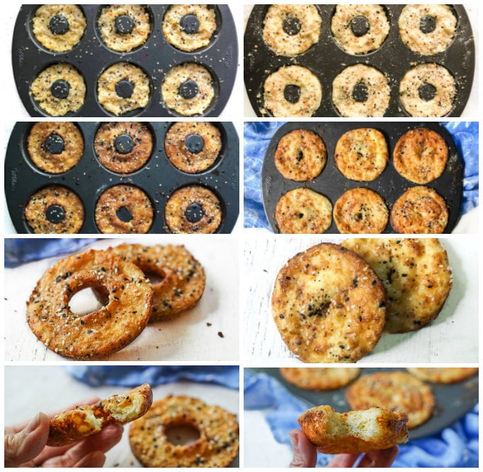 collage of how to make keto bagels of two versions