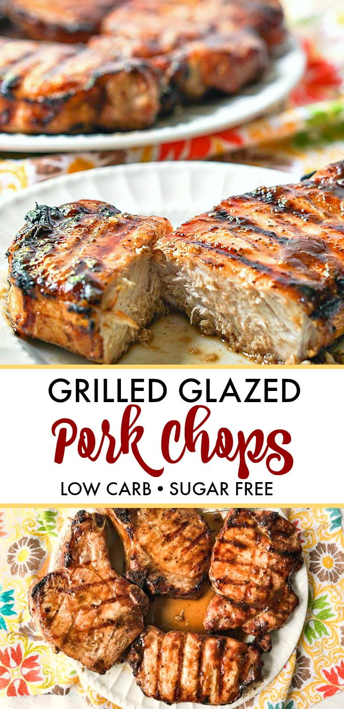 plates of grilled glazed pork chops with text overlay