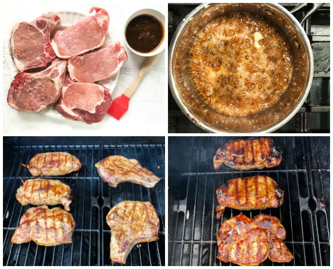 collage of how to grill and glaze pork chops