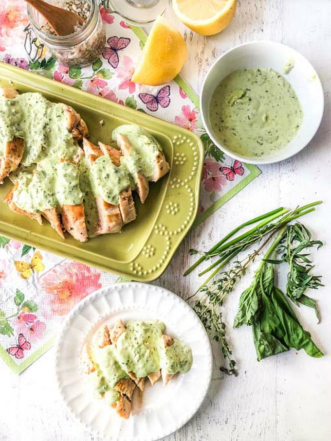 Easy Sous Vide Chicken with Low Carb Creamy Herb Sauce - delicious and easy keto dinner with fresh herbs. | MyLifeCookbook.com #keto #lowcarb #chicken #sousvide #herbs #creamysauce