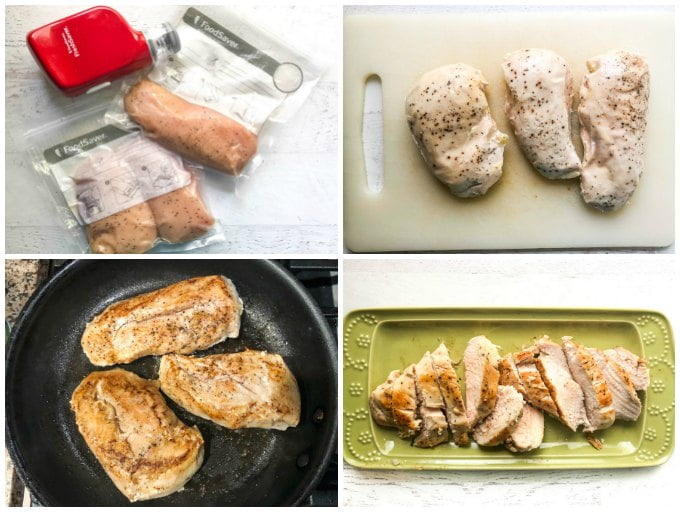 collage of pictures showing how to make sous vide chicken