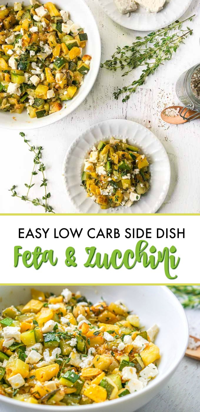 bowls and plates with low carb  zucchini feta side dish with sprigs of thyme and text overlay