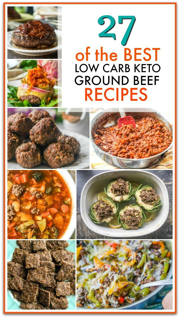 a collage of keto ground beef recipes with text overlay