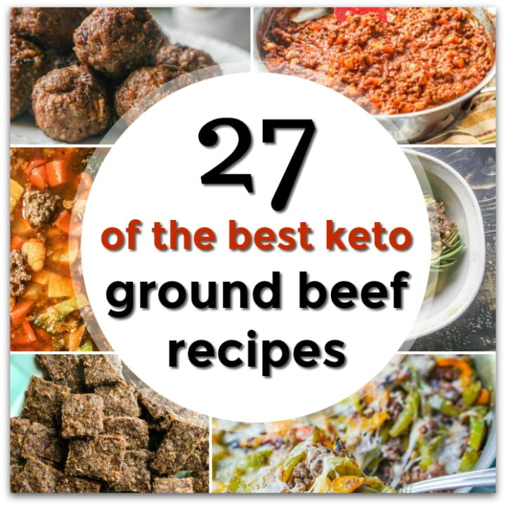 collage of ground beef recipes and text overlay