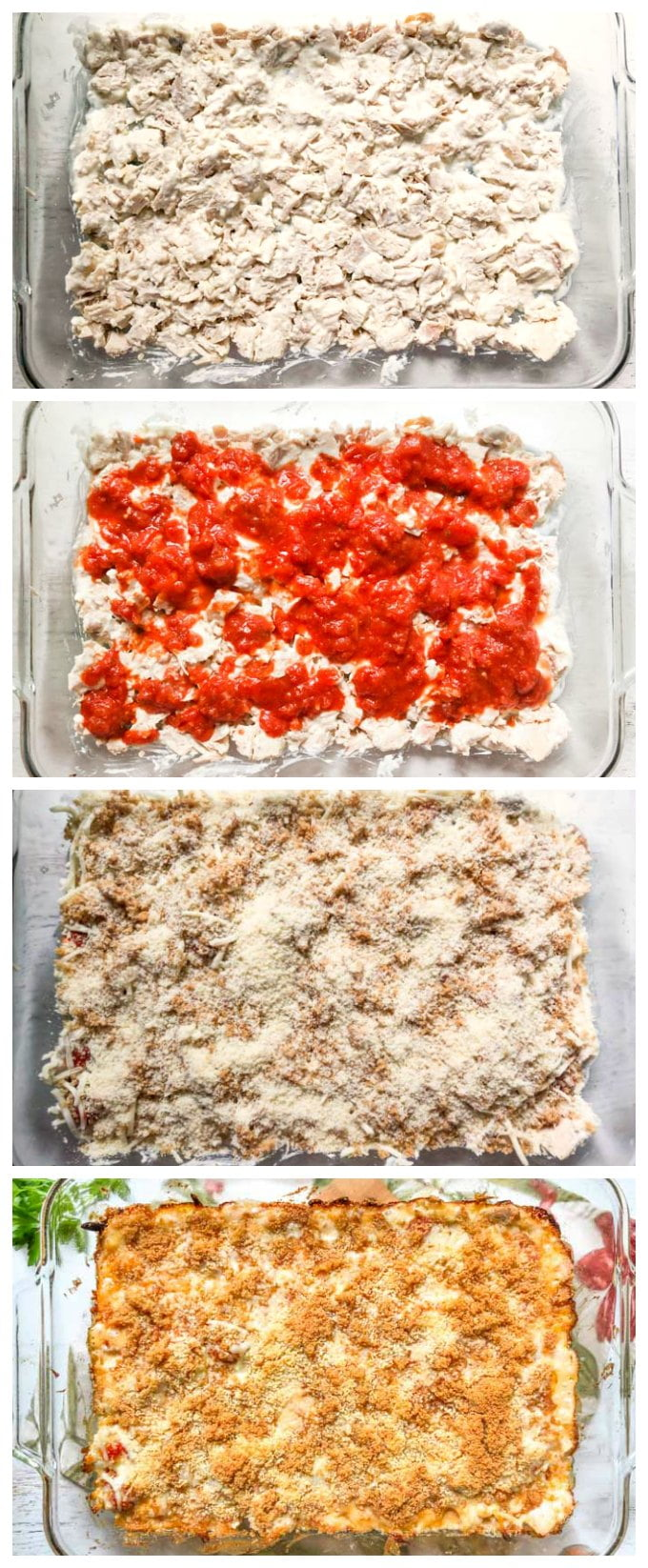 collage of each layer of assembling this chicken parmesan casserole