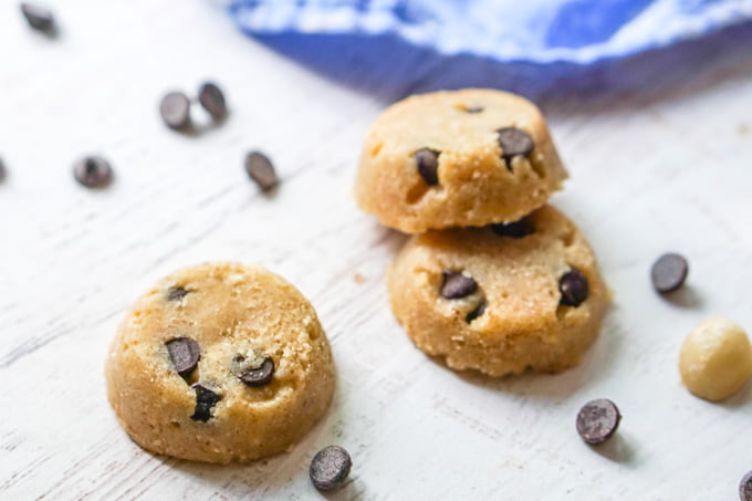 keto cookie dough fat bombs with scattered chocolate chips
