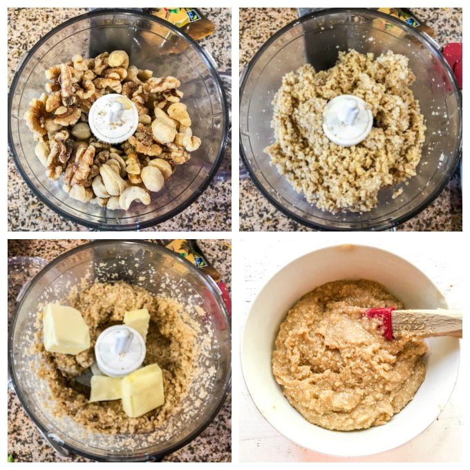 collage of pics of making keto cookie dough fat bombs in mini food processor